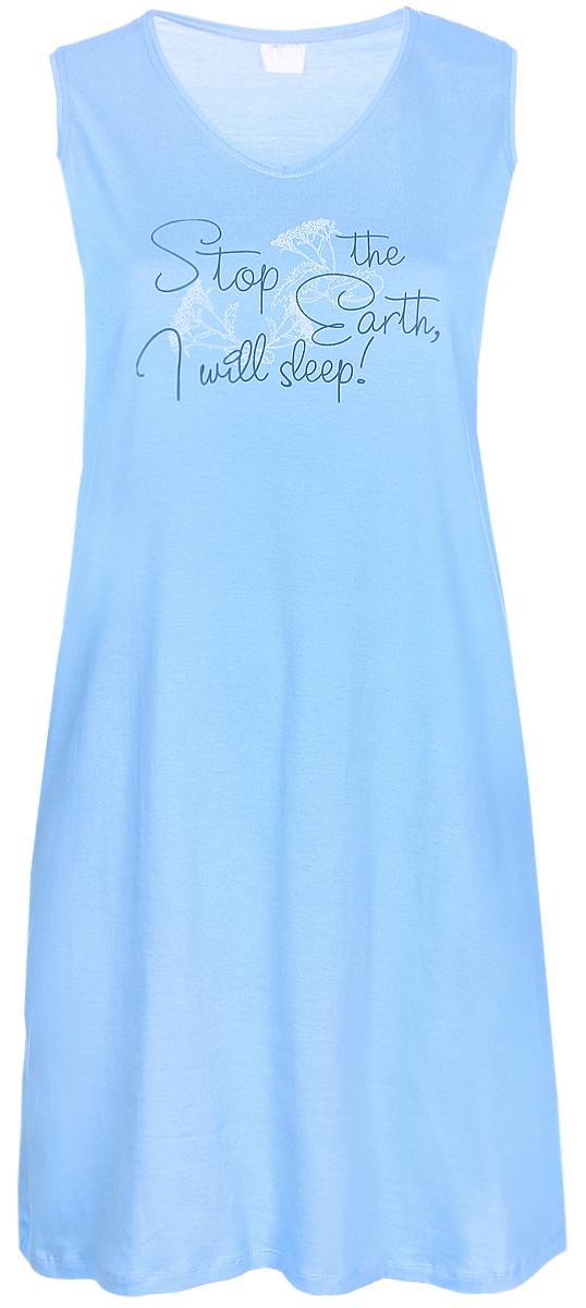Платье домашнее Violett, цвет: голубой. 17110605. Размер XXL (52)17110605Домашнее платье Violett выполнено из натурального хлопка. Платье-миди с круглым вырезом горловины и без рукавов оформлено стильным принтом.