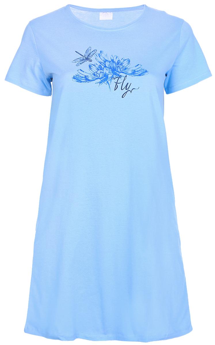 Платье домашнее Violett, цвет: голубой. 17110812. Размер XXXL (54)17110812Домашнее платье Violett выполнено из натурального хлопка. Платье-миди с круглым вырезом горловины и короткими рукавами оформлено стильным принтом.