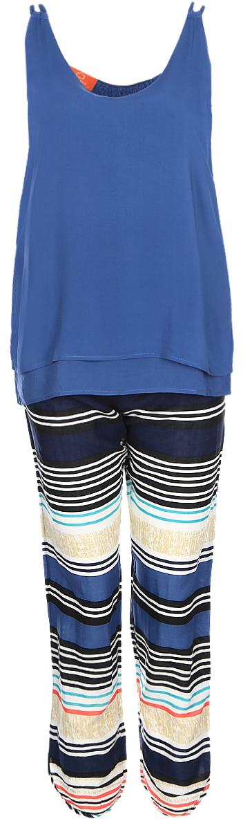 Комплект домашний женский Penye Mood: майка, брюки, цвет: синий. 8125. Размер XL (50)8125Домашний комплект Penye Mood состоит из майки и брюк. Изделия выполнены из 100% вискозы. Майка имеет круглый вырез горловины, свободный крой и ассиметричный низ. Брюки свободного кроя оснащены резинкой на талии. Майка выполнена в однотонном дизайне, а брюки дополнены принтом в полоску. Комплект не стесняет движений, комфортен в носке и отлично подходит для дома.