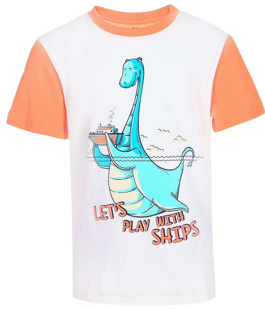 Футболка для мальчика Sela, цвет: белый. Ts-711/189-7213. Размер 104, 4 годаTs-711/189-7213Стильная футболка для мальчика Sela изготовлена из натурального хлопка двух цветов. Полочка оформлена изображением динозавра и надписями. Спинка, рукава и мягкая трикотажная резинка на воротнике выполнены из материала контрастного цвета.Яркий цвет модели позволяет создавать модные образы.