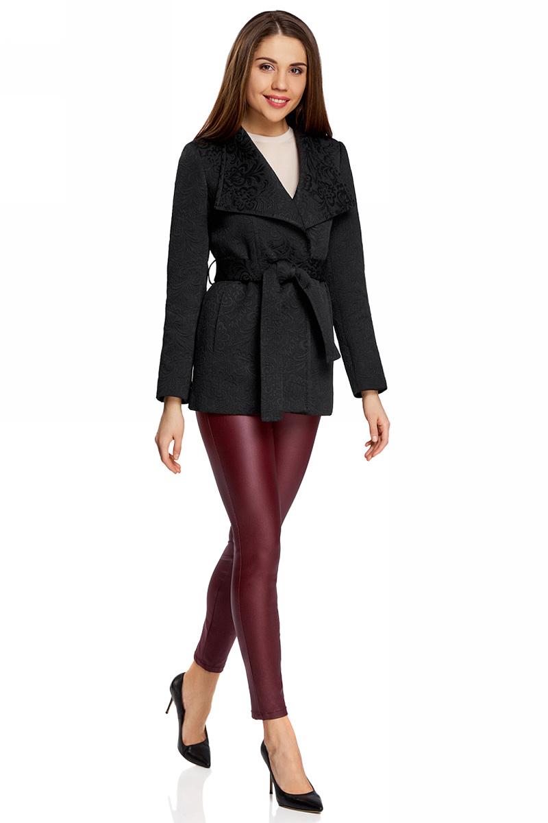 Пальто женскоеское oodji Ultra, цвет: черный. 10104041-1/33289/2900N. Размер 40-170 (46-170)10104041-1/33289/2900NПальто жаккардовое укороченное