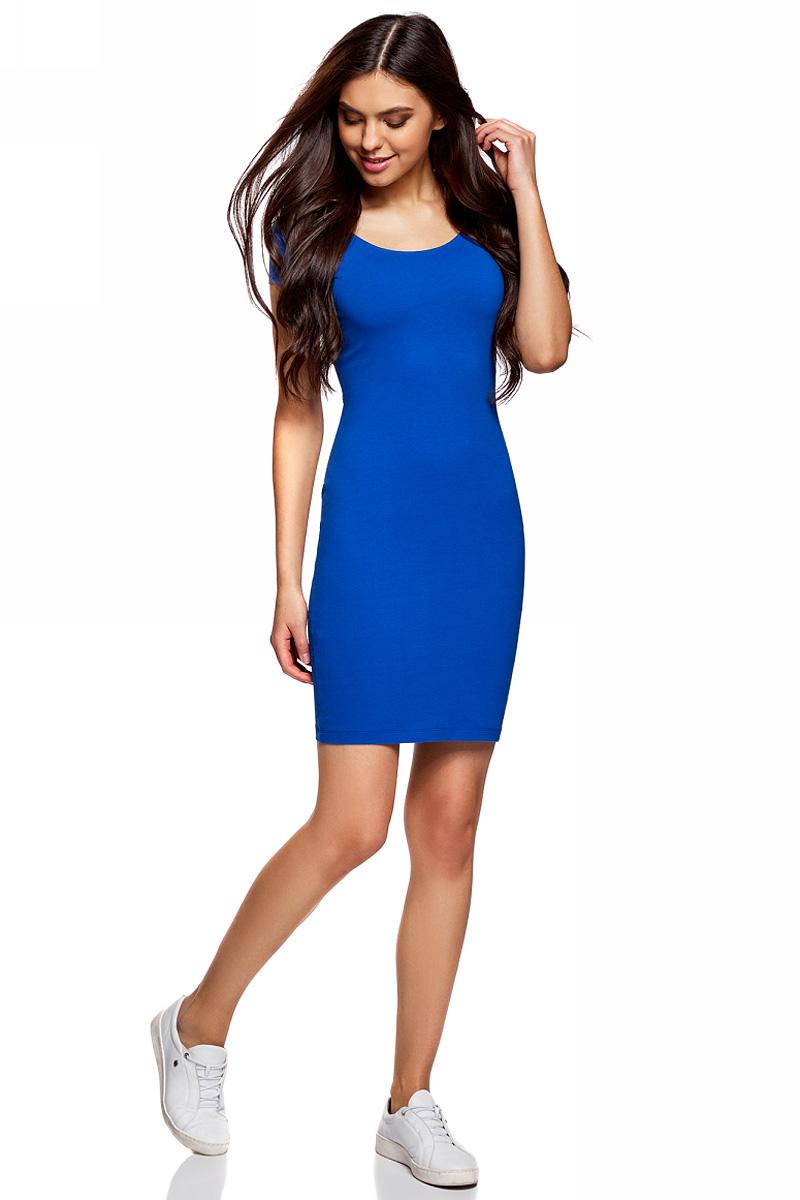 Платье oodji Collection, цвет: синий. 24001082-2B/47420/7500N. Размер M (46)24001082-2B/47420/7500NПлатье от oodji облегающего силуэта с глубоким вырезом на спине выполнено из эластичного хлопка. Модель с короткими рукавами.