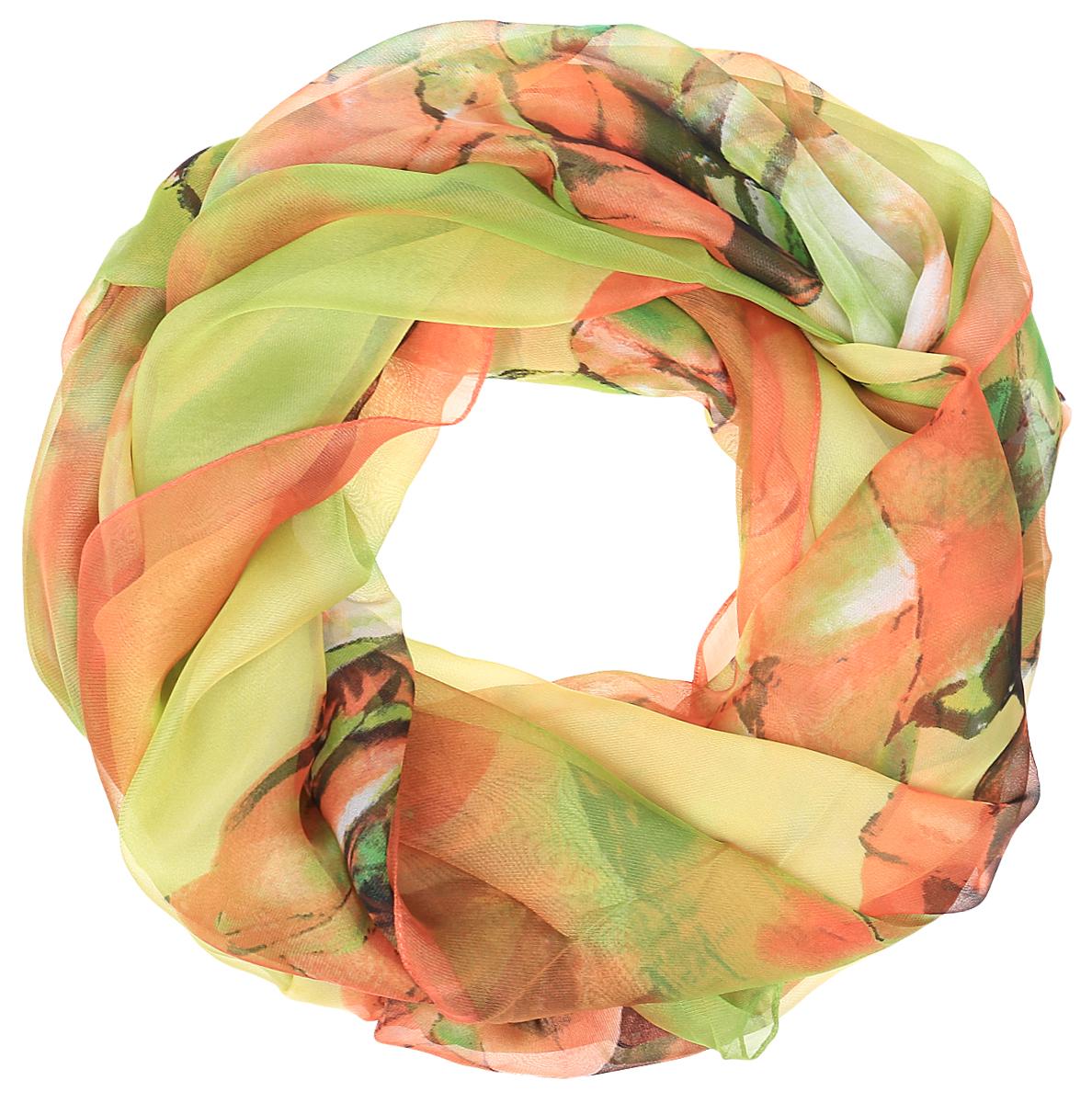 Палантин Sophie Ramage, цвет: оранжевый, салатовый. PP-11707-2. Размер 120 см х 180 смPP-11707-2Яркий палантин Sophie Ramage изготовлен из шелка и полиэстера. Модель оформлена оригинальным принтом. Изделия Sophie Ramage приятные на ощупь и подойдут к любому стилю.