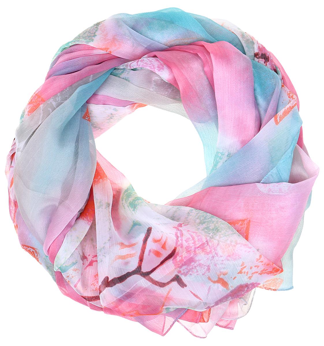 Палантин Sophie Ramage, цвет: розовый, голубой. PP-11706-1. Размер 120 см х 180 смPP-11706-1Яркий палантин Sophie Ramage изготовлен из шелка и полиэстера. Модель оформлена оригинальным принтом. Изделия Sophie Ramage приятные на ощупь и подойдут к любому стилю.