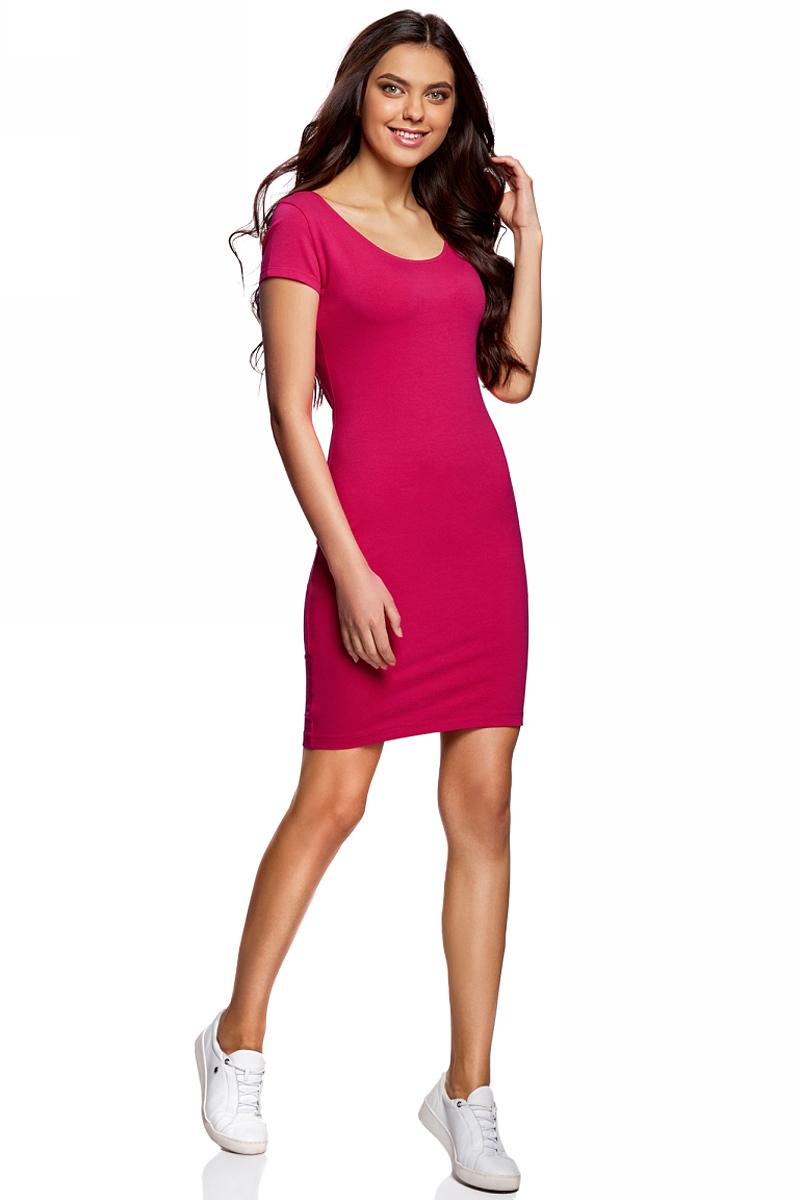 Платье oodji Collection, цвет: фуксия. 24001082-2B/47420/4700N. Размер XS (42)24001082-2B/47420/4700NПлатье от oodji облегающего силуэта с глубоким вырезом на спине выполнено из эластичного хлопка. Модель с короткими рукавами.