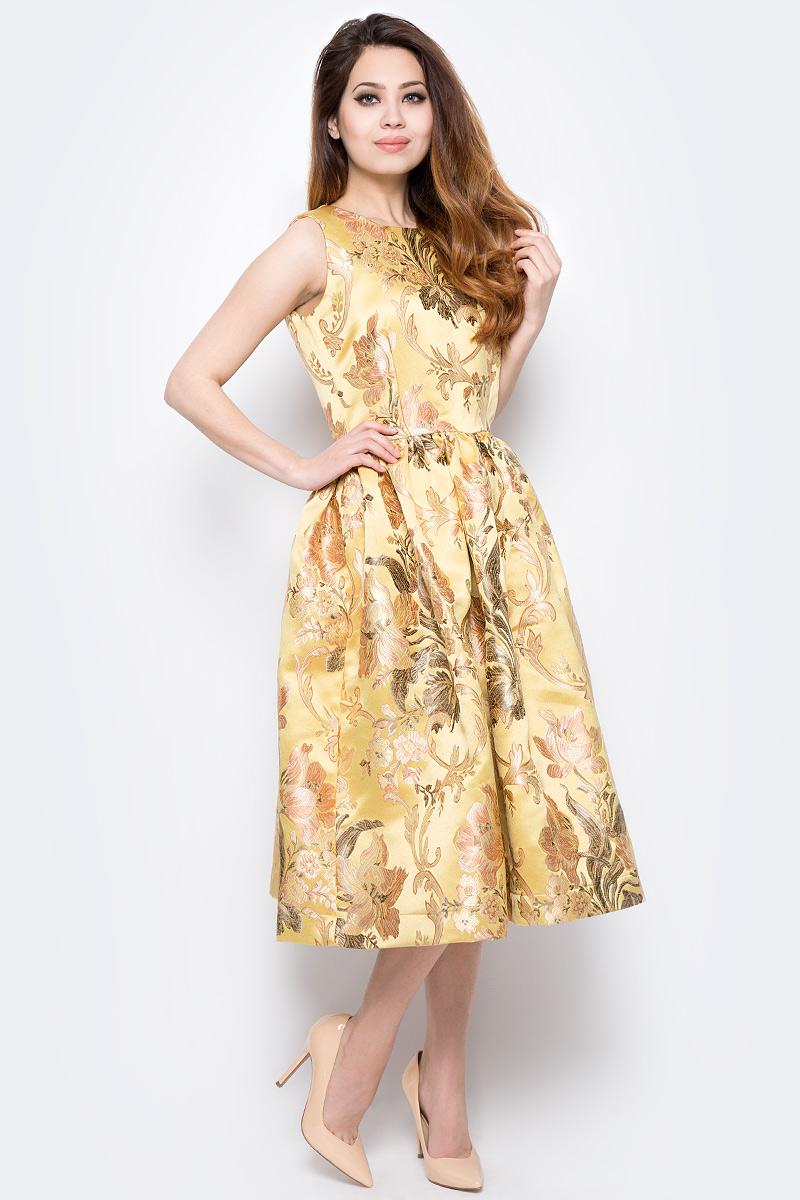 Платье Be in, цвет: желтый, бежевый, коричневый. Пл 170х-213. Размер 42/44Пл 170х-213Стильное платье Be in изготовлено из полиэстера и застегивается сзади на молнию. Модель без рукавов оформлена объемными складками на талии и оригинальным цветочным принтом. Романтичное платье Be in - для девушки, стремящейся всегда оставаться стильной и элегантной.