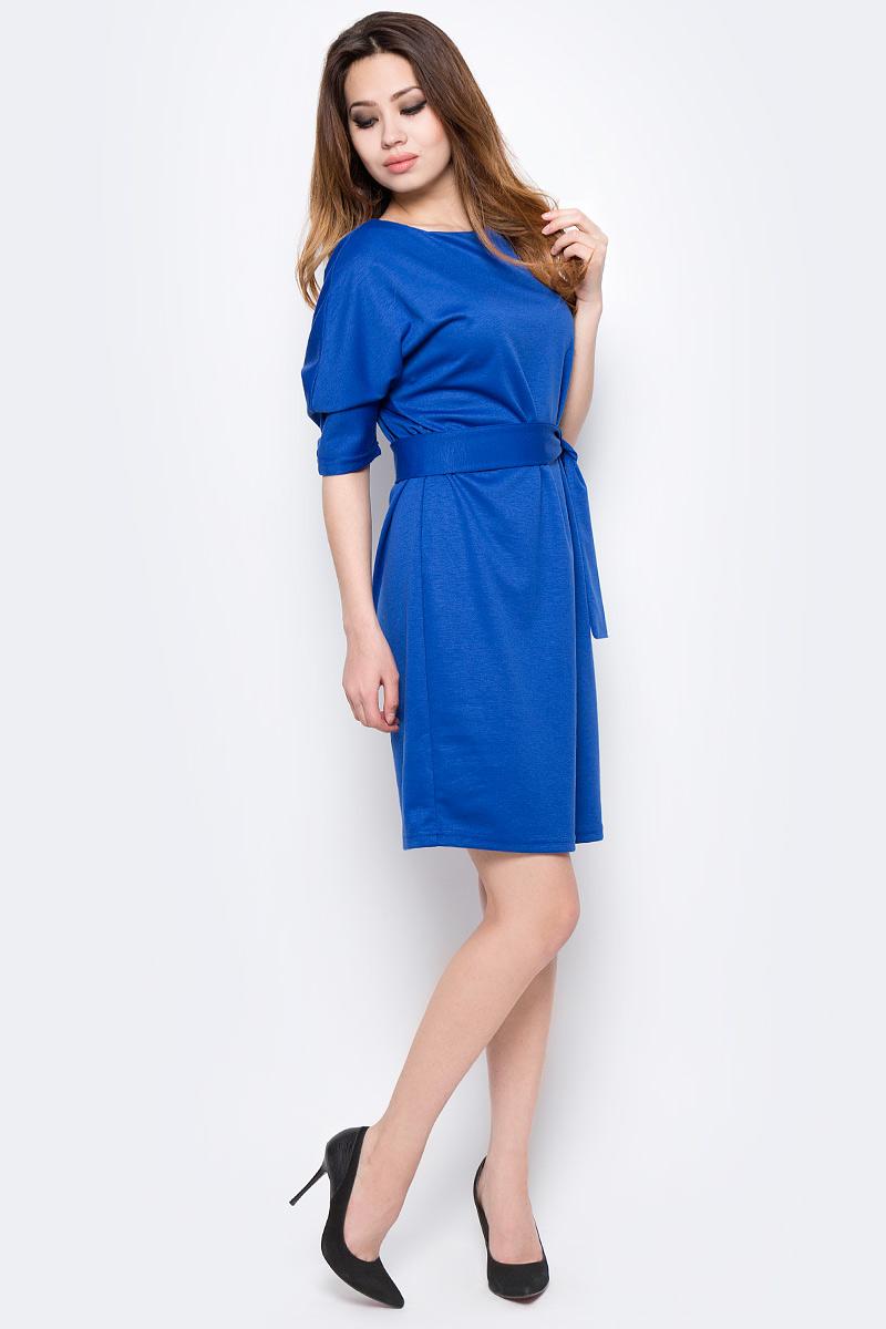 Платье Be in, цвет: синий. Пл 85-5. Размер 46/48Пл 85-5Стильное платье Be in изготовлено из качественной смесовой ткани. Модель длины миди с рукавами до локтя дополнена широким поясом. Платье Be in - для девушки, стремящейся всегда оставаться стильной и элегантной.