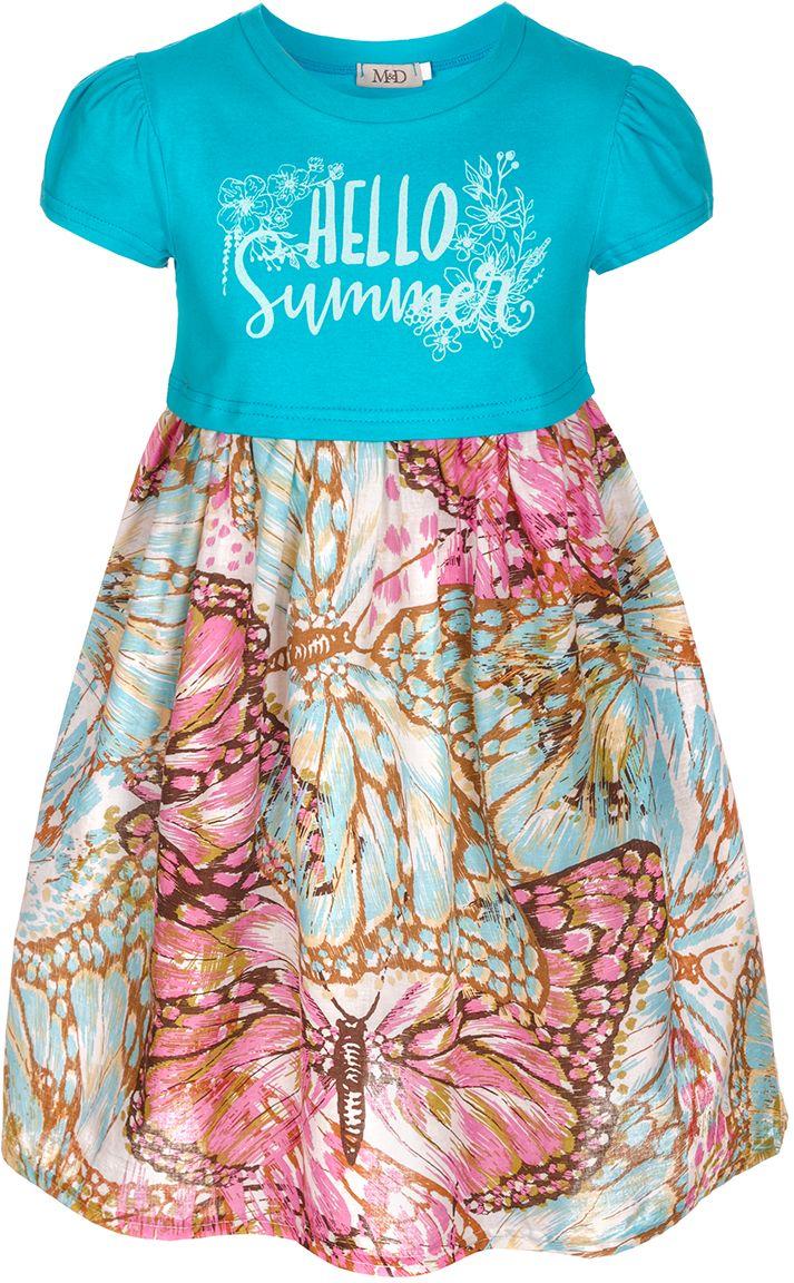 Платье для девочки M&D, цвет: голубой, сиреневый. SCD27049M22. Размер 122SCD27049M22Платье для девочки от бренда M&D приведет в восторг вашу юную модницу! Платье изготовлено из натурального хлопка с небольшим добавлением полиэстера. Модель с круглым вырезом горловины, отрезной талией и короткими рукавами на груди оформлена принтовой надписью Hello Summer. Пышная юбочка с оригинальным принтом придает платью воздушности и очарования. В таком платье ваша малышка всегда будет в центре внимания.