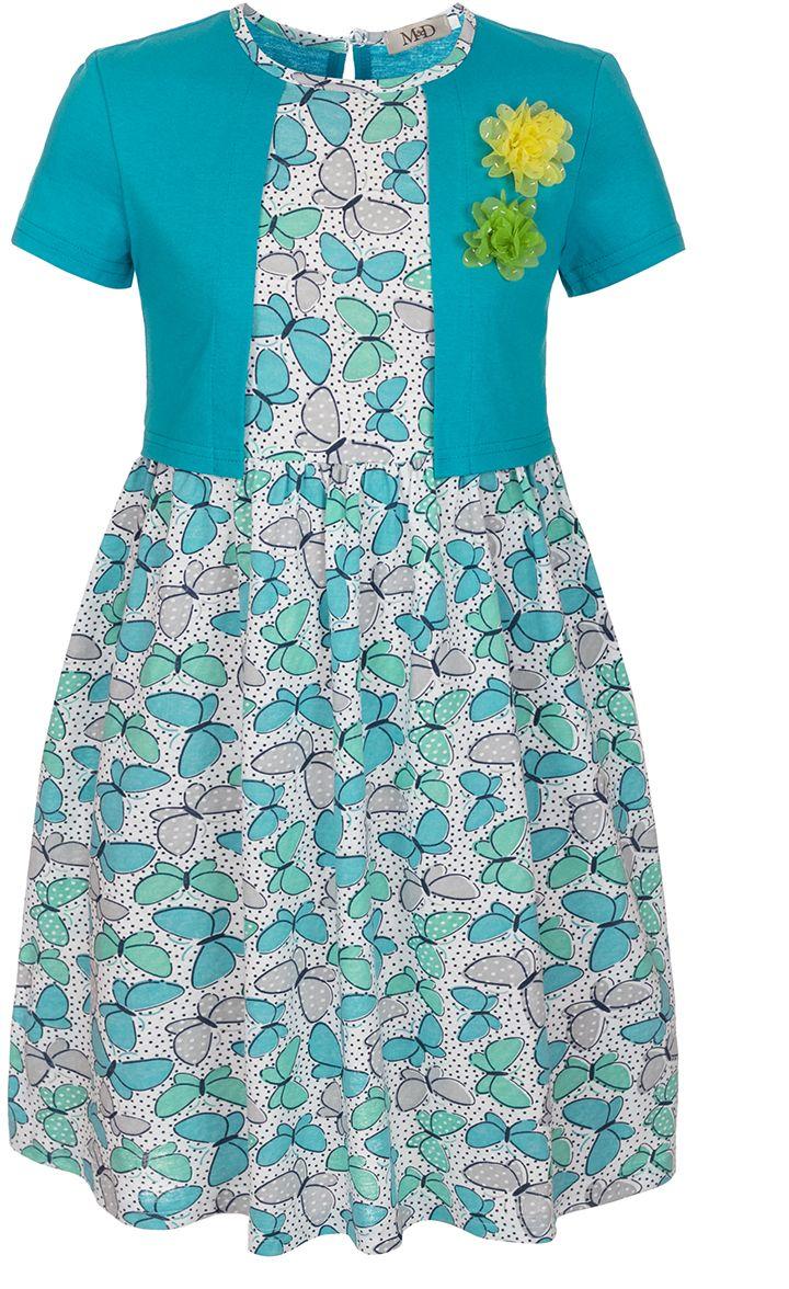 Платье для девочки M&D, цвет: бирюзовый, белый. SJD27060M87. Размер 98SJD27060M87Платье для девочки от бренда M&D приведет в восторг вашу юную модницу! Платье изготовлено из натурального хлопка. На спинке изделие застегивается на пуговку. Модель с круглым вырезом горловины, отрезной талией и короткими рукавами оформлена нежным цветочным принтом и имитацией надетого поверх платья кардигана контрастного цвета. Пышная юбочка придает платью воздушности и очарования. На груди - декоративные элементы в виде текстильных розочек. В таком платье ваша малышка всегда будет в центре внимания.