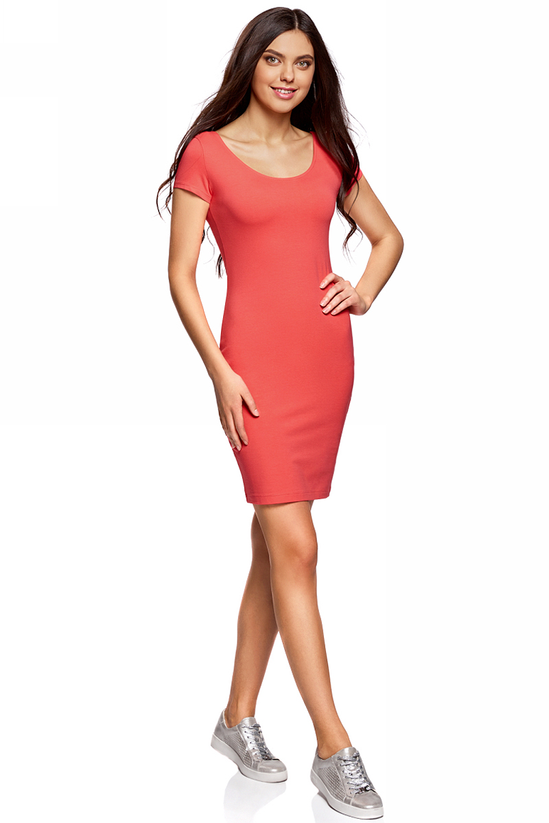 Платье oodji Collection, цвет: ярко-розовый. 24001082-2B/47420/4D00N. Размер XL (50)24001082-2B/47420/4D00NПлатье от oodji облегающего силуэта с глубоким вырезом на спине выполнено из эластичного хлопка. Модель с короткими рукавами.