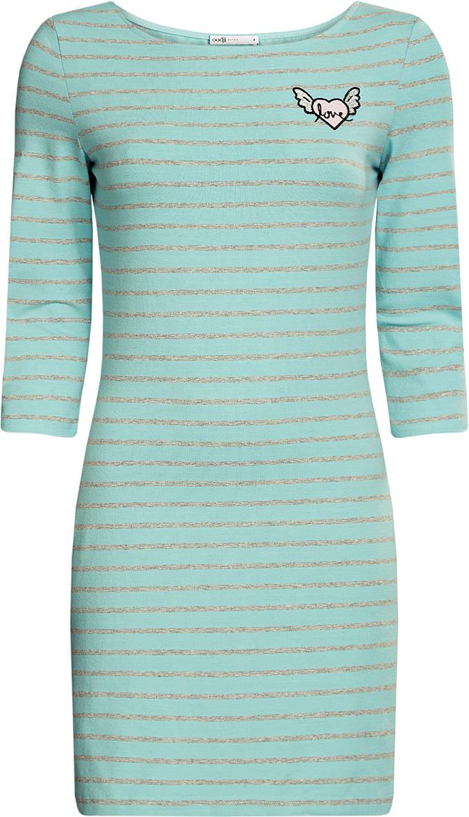 Платье oodji Ultra, цвет: бирюза, светло-серый, полоски. 14001071-5/46148/7320S. Размер XL (50)14001071-5/46148/7320SПлатье с аппликацией Окрыленное сердце