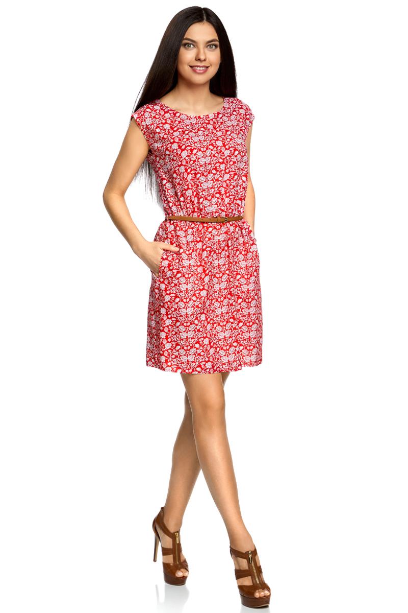 Платье oodji Ultra, цвет: красный, белый, цветы. 11910073-2B/45470/4512F. Размер 42-170 (48-170)11910073-2B/45470/4512FПлатье без рукавов из принтованной вискозы