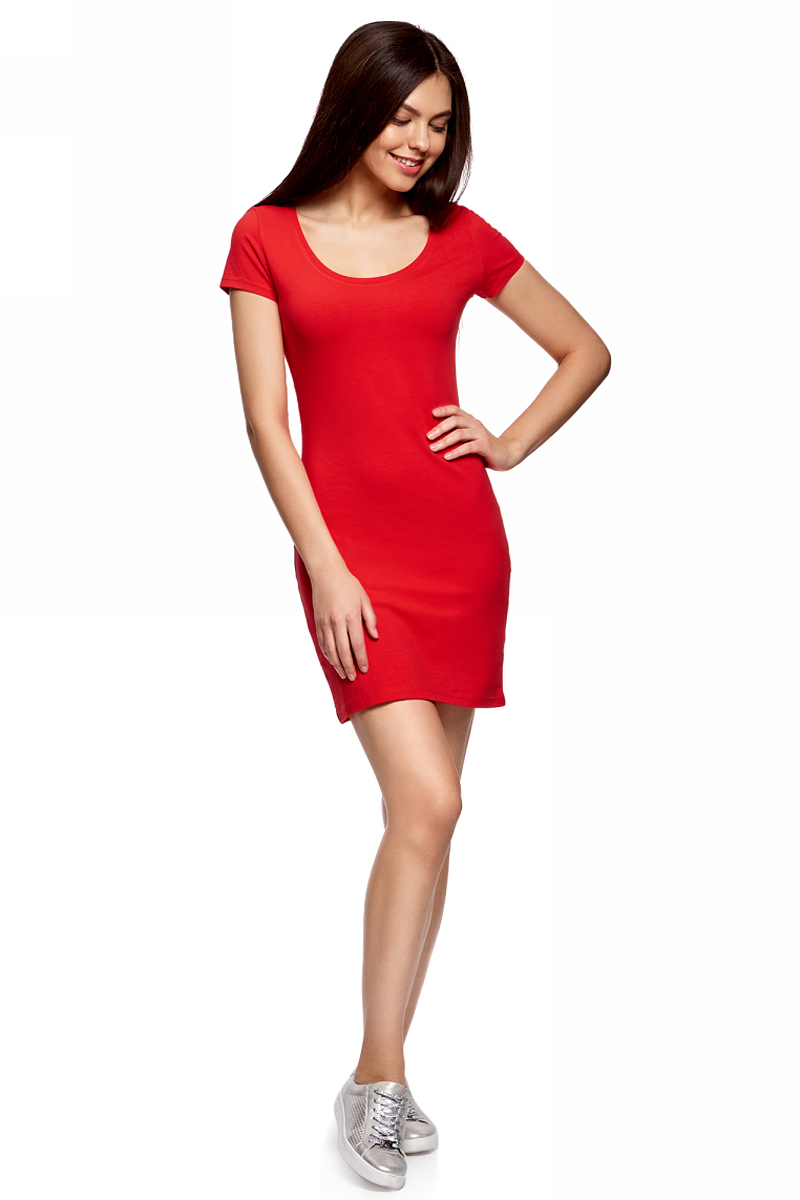 Платье oodji Ultra, цвет: красный. 14001182B/47420/4500N. Размер L (48)14001182B/47420/4500NОблегающее платье oodji Ultra выполнено из качественного трикотажа. Модель мини-длины с круглым вырезом горловиныи короткими рукавами выгодно подчеркивает достоинства фигуры.