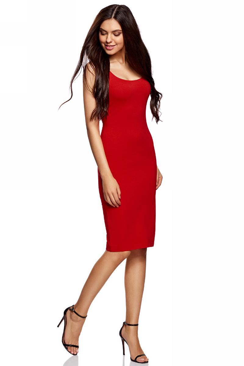 Платье oodji Ultra, цвет: красный. 14015007-2B/47420/4500N. Размер XL (50)14015007-2B/47420/4500NЛегкое обтягивающее платье oodji Ultra, выгодно подчеркивающее достоинства фигуры, выполнено из качественного эластичного хлопка. Модель миди-длины с круглым вырезом горловины и узкими бретелями дополнена разрезом на юбке с задней стороны. Мягкая ткань приятна на ощупь и комфортна в носке.