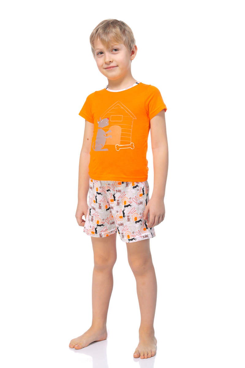 Пижама для мальчика Lowry, цвет: оранжевый. BPG-75. Размер M (110/116)BPG-75Яркая пижама для мальчика Lowry, состоящая из футболки и шортиков, идеально подойдет вашему ребенку и станет отличным дополнением к детскому гардеробу. Пижама, изготовленная из натурального хлопка, необычайно мягкая и легкая, не сковывает движения ребенка, позволяет коже дышать и не раздражает даже самую нежную и чувствительную кожу малыша. Футболка с короткими рукавами и круглым вырезом горловины. Шортики прямого кроя на широкой эластичной резинке не сдавливают животик ребенка и не сползают.В такой пижаме ваш маленький непоседа будет чувствовать себя комфортно и уютно во время сна.