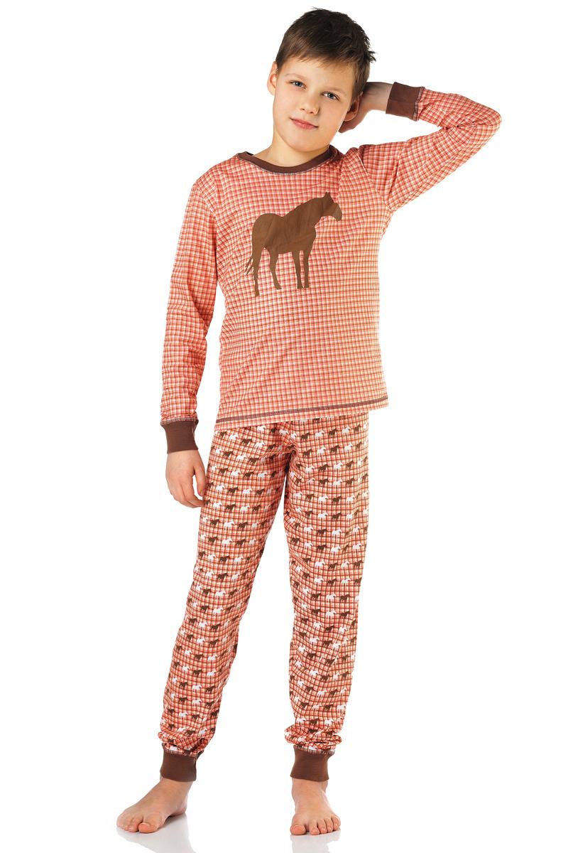 Пижама для мальчика Lowry, цвет: коричневый. BPG-77. Размер L (122/128)BPG-77Пижама Lowry выполнена из качественного материала. Лонгслив с круглым вырезом горловины. Брюки с эластичной резинкой на талии.