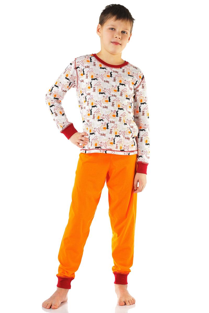 Пижама для мальчика Lowry, цвет: оранжевый. BPG-78. Размер S (98/104)BPG-78Пижама Lowry выполнена из качественного материала. Лонгслив с круглым вырезом горловины. Брюки с эластичной резинкой на талии.