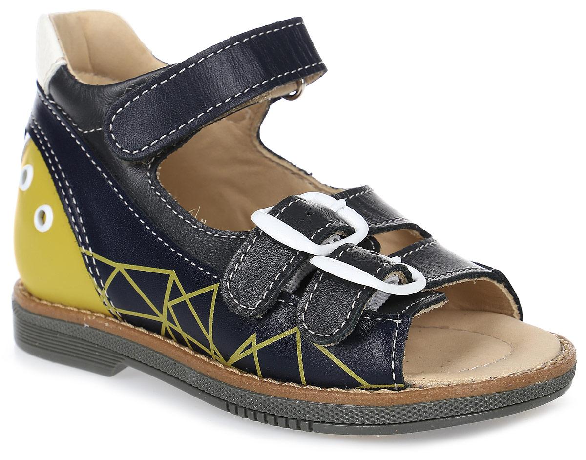 Сандалии для мальчика TapiBoo, цвет: черный, желтый. FT-26001.17-OL12O.01. Размер 28FT-26001.17-OL12O.01Стильные сандалии от TapiBoo придутся по душе вашему мальчику. Модель, выполненная из натуральной кожи, оформлена контрастной прострочкой. Внутренняя поверхность из натуральной кожи гарантирует комфорт при движении. Анатомическая стелька со сводоподдерживающим элементом для правильного формирования стопы. Жесткий фиксирующий задник с удлиненным «крылом», надежно стабилизирует голеностопный сустав во время ходьбы. Застежки типа «велкро» позволяют оптимально подогнать полноту обуви по ноге ребенка. Упругая подошва, имеющая перекат, позволяет повторять естественное движение стопы при ходьбе для правильного распределения нагрузки на опорно-двигательный аппарат ребенка. Отсутствие швов на подкладке обеспечивает дополнительный комфорт и предотвращает натирание. Ортопедический каблук Томаса укрепляет подошву под средней частью стопы и препятствует ее заваливанию внутрь. Рельефный рисунок подошвы обеспечивает сцепление с любыми поверхностями. Такие сандалии станут незаменимыми в гардеробе вашего ребенка.