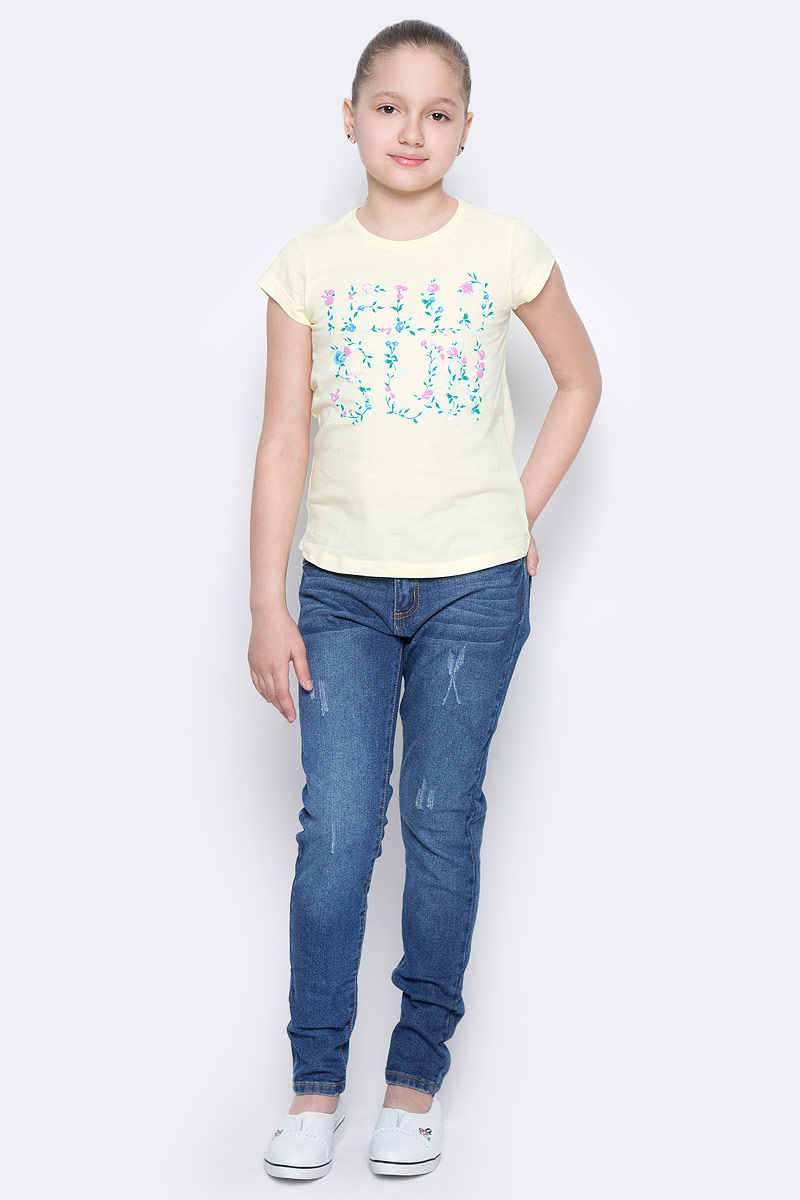 Футболка для девочки Sela, цвет: светло-желтый. Ts-611/966-7223. Размер 146, 11 летTs-611/966-7223Стильная футболка с удлиненной спинкой Sela станет отличным дополнением к гардеробу юной модницы. Модель прямого кроя изготовлена из натурального хлопка и оформлена оригинальным принтом. Воротник дополнен мягкой эластичной бейкой.