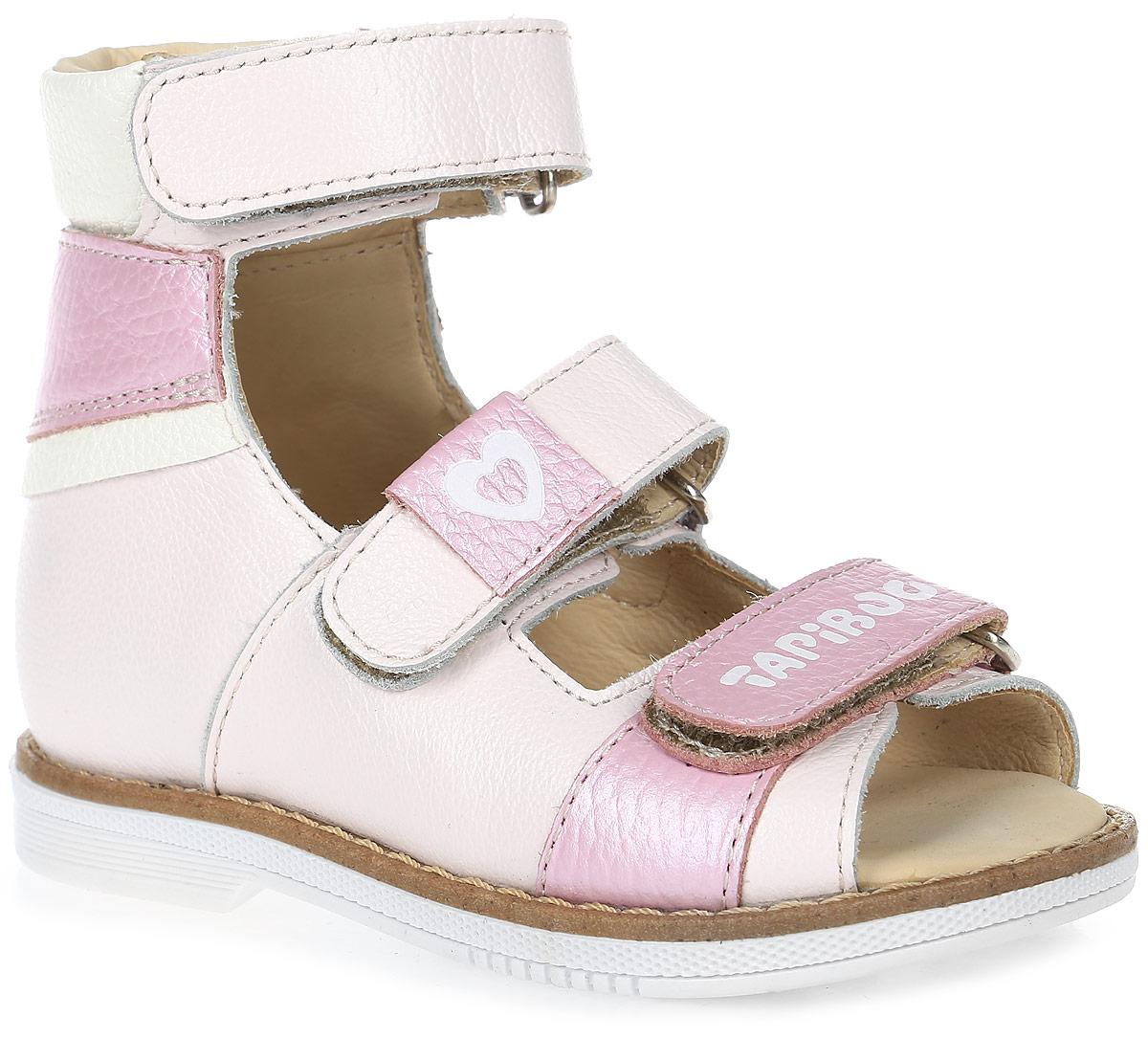 Сандалии для девочки TapiBoo, цвет: розовый, белый. FT-26005.17-OL05O.02. Размер 24FT-26005.17-OL05O.02Стильные сандалии от TapiBoo придутся по душе вашей девочке. Модель, выполненная из натуральной кожи, оформлена прострочкой вдоль ранта. Внутренняя поверхность из натуральной кожи гарантирует комфорт при движении. Анатомическая стелька из натуральной кожи с супинатором обеспечивает правильное формирование стопы. Жесткий фиксирующий задник надежно стабилизирует голеностопный сустав во время ходьбы. Застегивается модель на три ремешка с липучками. Ремешок на подъеме дополнен нашивкой, а ремешок на мысе логотипом бренда. Упругая подошва, имеющая перекат, позволяет повторять естественное движение стопы при ходьбе для правильного распределения нагрузки на опорно-двигательный аппарат ребенка. Ортопедический каблук Томаса укрепляет подошву под средней частью стопы и препятствует ее заваливанию внутрь. Рельефный рисунок подошвы обеспечивает сцепление с любыми поверхностями. Такие сандалии станут незаменимыми в гардеробе вашего ребенка.