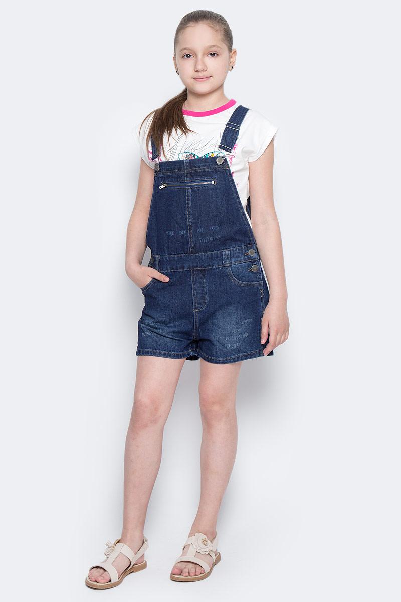 Полукомбинезон для девочки Button Blue Main, цвет: синий. 117BBUC6701D100. Размер 158, 13 лет117BBUC6701D100Детский джинсовый полукомбинезон - не только очень удобная модель летнего гардероба, но и трендовая вещь. В компании с любой майкой, футболкой, поло полукомбинезон составит достойный летний комплект. Если вы хотите купить недорого джинсовый полукомбинезон с модными потертостями, заминами, варкой, не сомневаясь в его качестве, высоких потребительских свойствах и соответствии модным трендам, полукомбинезон от Button Blue - лучший вариант!