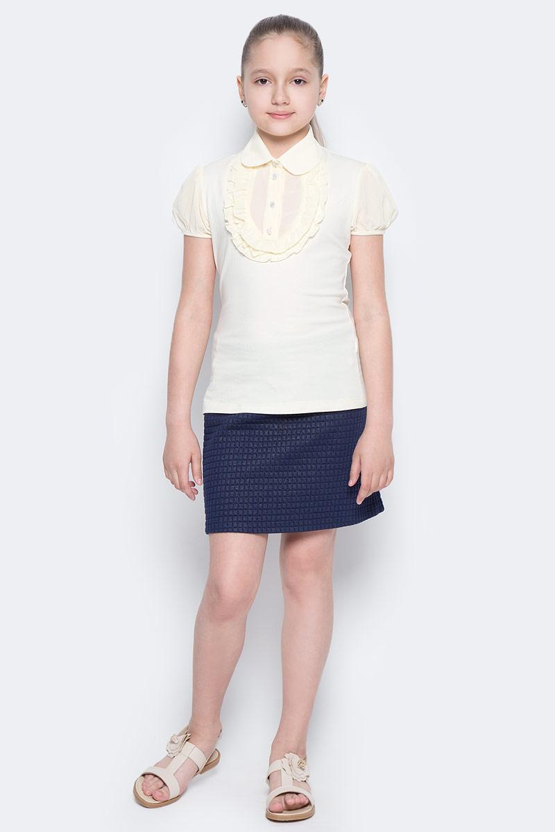 Блузка для девочки Nota Bene, цвет: молочный. CJR26006B-17. Размер 146CJR26006B-17/CJR26006A-17Стильная блузка для девочки Nota Bene идеально подойдет вашей дочурке. Изготовленная из хлопка с добавлением полиэстера и лайкры, она мягкая и приятная на ощупь, не сковывает движения, эластична, износоустойчива и позволяет коже дышать, обеспечивая наибольший комфорт. Блузка с короткими рукавами-фонариками и отложным воротничком застегивается на пластиковые пуговицы. Модель оформлена рюшами на груди. Современный дизайн и расцветка делают эту блузку стильным предметом детского гардероба.