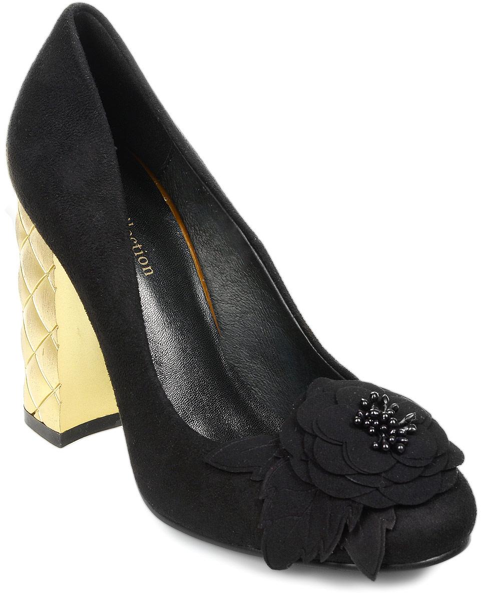 Туфли женские LK Collection, цвет: черный. P173-F3223-6 PU. Размер 35P173-F3223-6 PUСтильные туфли на широком устойчивом каблуке выполнены из искусственной замши. Стелька выполнена из натуральной кожи.