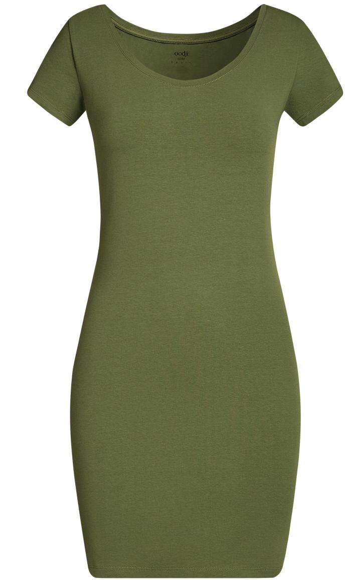 Платье oodji Ultra, цвет: темно-зеленый. 14001182B/47420/6900N. Размер S (44)14001182B/47420/6900NОблегающее платье oodji Ultra выполнено из качественного трикотажа. Модель мини-длины с круглым вырезом горловиныи короткими рукавами выгодно подчеркивает достоинства фигуры.