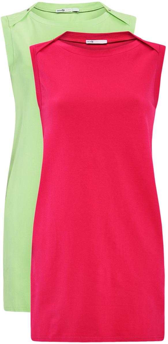 Платье oodji Ultra, цвет: фуксия, зеленый, 2 шт. 14005074T2/46149/476AN. Размер S (44)14005074T2/46149/476ANТрикотажное летнее платье выполнено из эластичного хлопка. Модель приталенного кроя и без рукавов. В комплекте 2 платья.