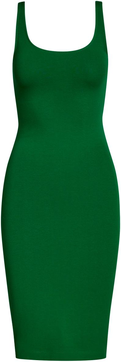 Платье oodji Ultra, цвет: темно-изумрудный. 14015007-2B/47420/6E00N. Размер XXS (40)14015007-2B/47420/6E00NЛегкое обтягивающее платье oodji Ultra, выгодно подчеркивающее достоинства фигуры, выполнено из качественного эластичного хлопка. Модель миди-длины с круглым вырезом горловины и узкими бретелями дополнена разрезом на юбке с задней стороны. Мягкая ткань приятна на ощупь и комфортна в носке.