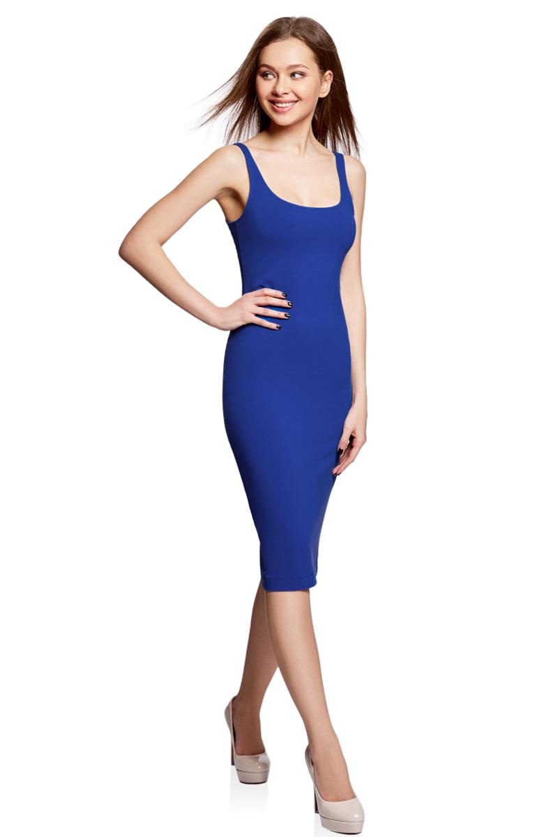 Платье oodji Ultra, цвет: синий. 14015007-2B/47420/7500N. Размер M (46)14015007-2B/47420/7500NЛегкое обтягивающее платье oodji Ultra, выгодно подчеркивающее достоинства фигуры, выполнено из качественного эластичного хлопка. Модель миди-длины с круглым вырезом горловины и узкими бретелями дополнена разрезом на юбке с задней стороны. Мягкая ткань приятна на ощупь и комфортна в носке.
