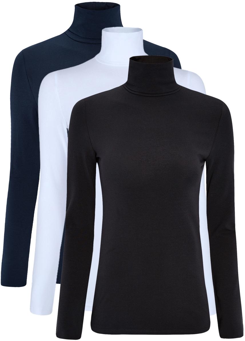 Водолазка женская oodji Ultra, цвет: темно-синий, голубой, черный, 3 шт. 15E02001T3/46147/19ANN. Размер S (44)15E02001T3/46147/19ANNБазовая женская водолазка oodji Ultra выполнена из эластичной хлопковой ткани. У модели воротник-гольф и стандартные длинные рукава. В комплект входит три водолазки.