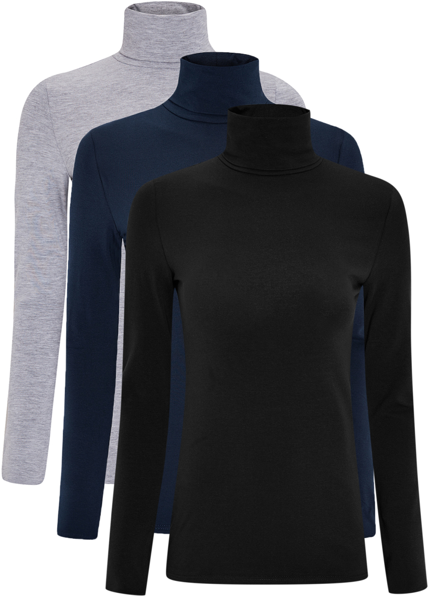 Водолазка женская oodji Ultra, цвет: серый, темно-синий, черный, 3 шт. 15E02001T3/46147/19BAN. Размер M (46)15E02001T3/46147/19BANБазовая женская водолазка oodji Ultra выполнена из эластичной хлопковой ткани. У модели воротник-гольф и стандартные длинные рукава. В комплект входит три водолазки.