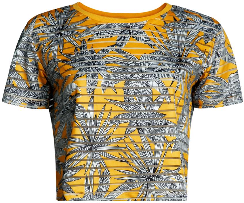 Футболка женская oodji Ultra, цвет: желтый, серый. 15F01002/33520/5223F. Размер L (48)15F01002/33520/5223FМодная футболка укороченного силуэта с короткими рукавами и круглым вырезом горловины выполнена из ткани в рубчик.