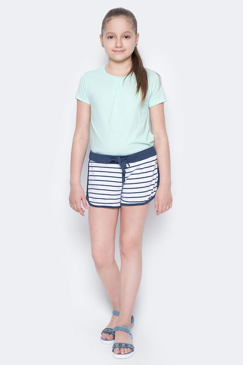 Шорты для девочки Button Blue Main, цвет: белый, синий. 117BBGC54010205. Размер 98, 3 года117BBGC54010205Детские трикотажные шорты — образец комфорта! Полосатые шорты для девочки сделают любой летний комплект в спортивном стиле ярким и интересным. Если вы хотите купить недорого трикотажные шорты на каждый день, модель от Button Blue — то, что нужно.