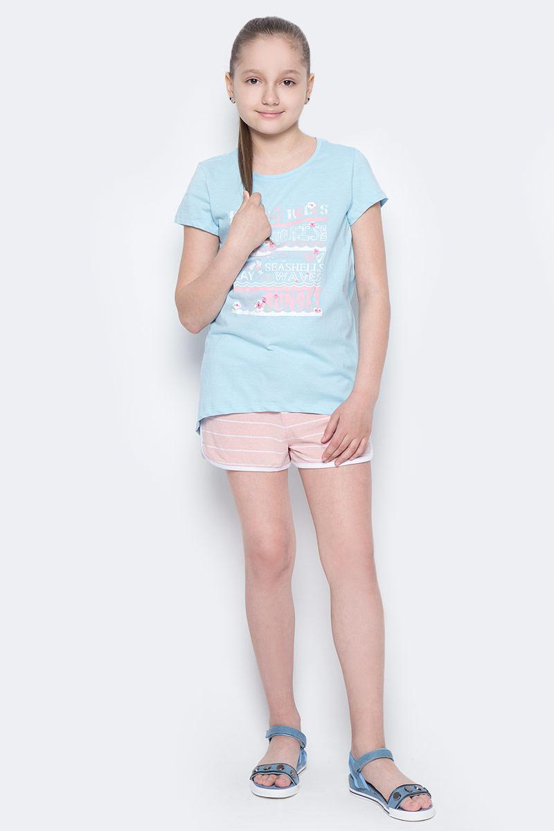 Футболка для девочки Sela, цвет: небесно-голубой. Ts-611/981-7233. Размер 140, 10 летTs-611/981-7233Стильная футболка с удлиненной спинкой Sela станет отличным дополнением к гардеробу юной модницы. Модель прямого кроя изготовлена из натурального хлопка и оформлена оригинальным принтом. Воротник дополнен мягкой эластичной бейкой.