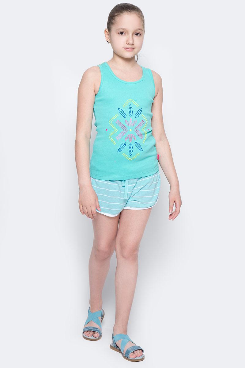 Шорты для девочки Button Blue Main, цвет: голубой, белый. 117BBGC54012605. Размер 110, 5 лет117BBGC54012605Детские трикотажные шорты — образец комфорта! Полосатые шорты для девочки сделают любой летний комплект в спортивном стиле ярким и интересным. Если вы хотите купить недорого трикотажные шорты на каждый день, модель от Button Blue — то, что нужно.