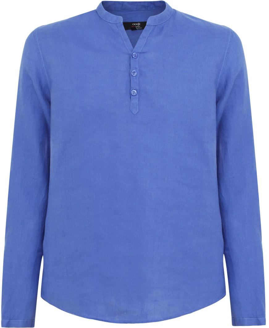 Рубашка мужская oodji Basic, цвет: синий. 3B320002M/21155N/7500N. Размер S-182 (46/48-182)3B320002M/21155N/7500NМужская рубашка от oodji выполнена из натурального льна. Модель без воротника с длинными рукавами на груди застегивается на пуговицы.
