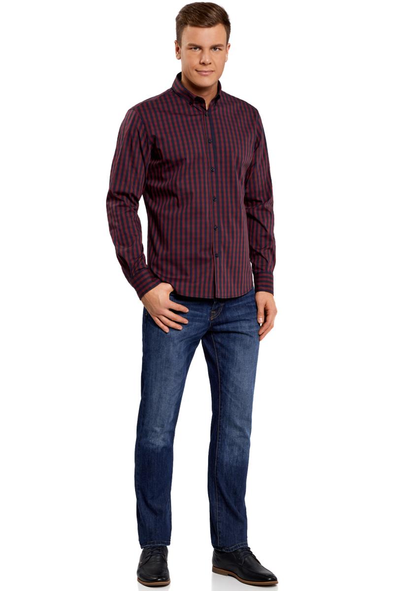 Рубашка мужская oodji Lab, цвет: бордовый, темно-синий. 3L110135M/39767N/4979C. Размер 37-182 (42-182)3L110135M/39767N/4979CМужская рубашка oodji Lab выполнена из комбинированного материала. Модель с отложным воротником и длинными рукавами застегивается на пуговицы.