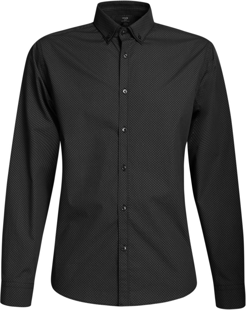 Рубашка мужская oodji Lab, цвет: черный, темно-серый. 3L110225M/19370N/2925G. Размер 39-182 (46-182)3L110225M/19370N/2925GСтильная мужская рубашка oodji выполнена из натурального хлопка. Модель с отложным воротником и длинными рукавами застегивается на пуговицы спереди. Манжеты рукавов дополнены застежками-пуговицами.