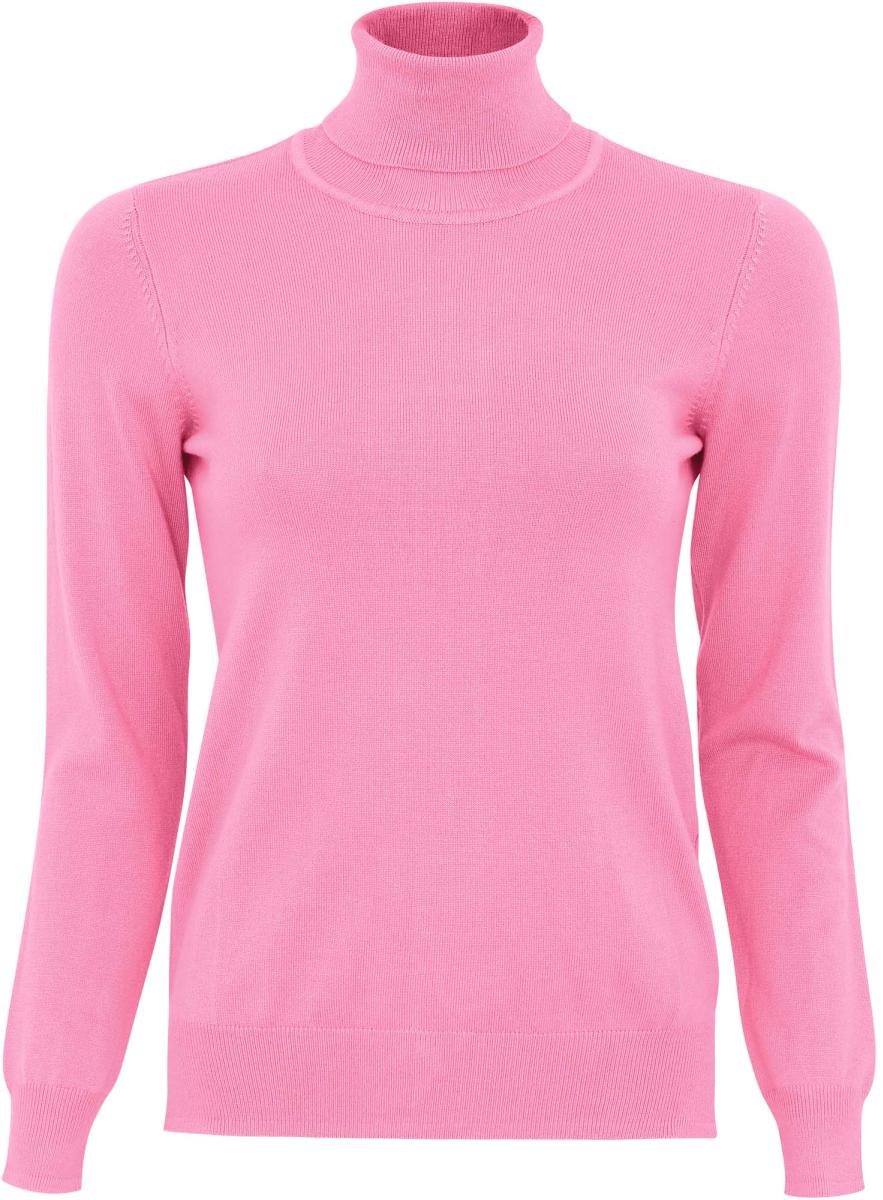 Свитер женский oodji Collection, цвет: розовый. 74412566/24525/4100N. Размер XS (42)74412566/24525/4100NСвитер oodji с воротником-гольф изготовлен из качественного смесового материала. Низ изделия и рукава дополнены вязаными резинками.