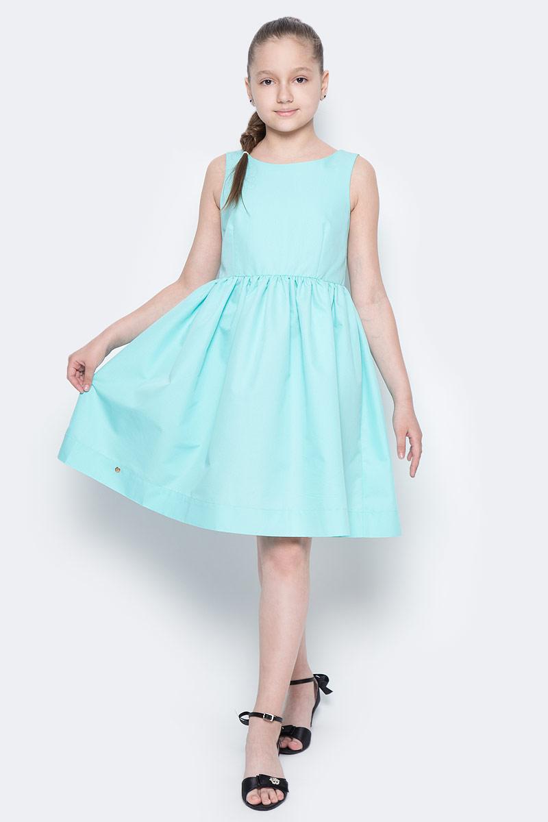 Платье для девочки Button Blue Main, цвет: ментоловый. 117BBGC25022600. Размер 146, 11 лет117BBGC25022600Прекрасный летний вариант - яркое текстильное платье на тонкой хлопковой подкладке. Модный силуэт, комфортная форма делают платье для девочки отличным решением для каждого дня лета. Если вы хотите приобрести одновременно и красивую, и практичную, и удобную вещь, вам стоит купить детское платье от Button Blue.