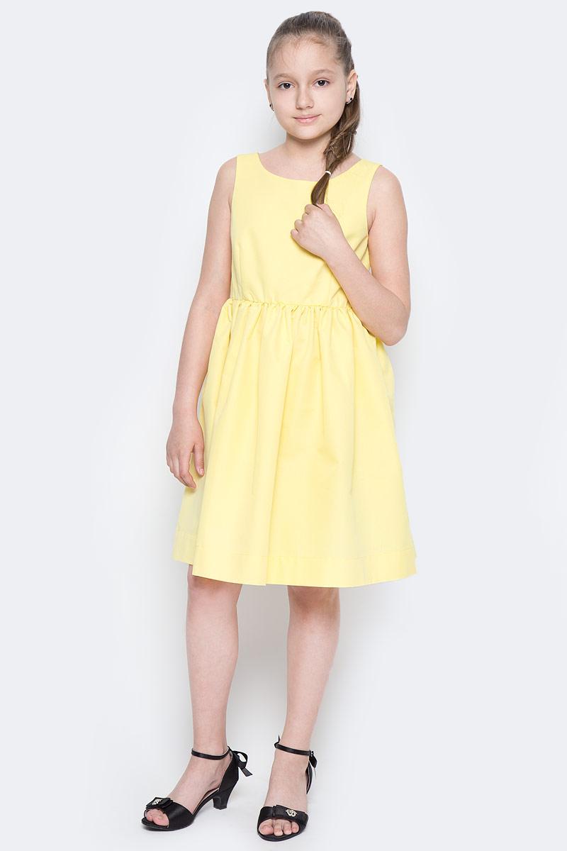 Платье для девочки Button Blue Main, цвет: желтый. 117BBGC25022700. Размер 128, 8 лет117BBGC25022700Прекрасный летний вариант - яркое текстильное платье на тонкой хлопковой подкладке. Модный силуэт, комфортная форма делают платье для девочки отличным решением для каждого дня лета. Если вы хотите приобрести одновременно и красивую, и практичную, и удобную вещь, вам стоит купить детское платье от Button Blue.