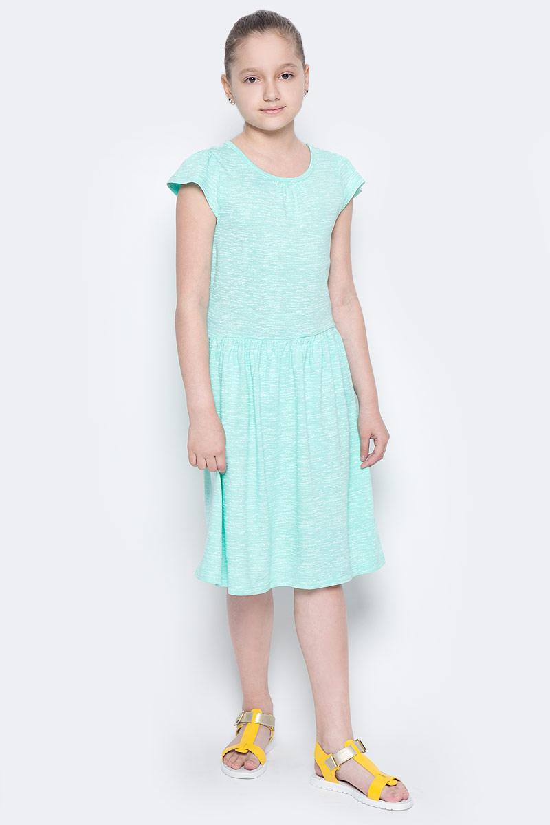 Платье для девочки Sela, цвет: ментоловый. Dks-617/853-7224. Размер 140, 10 летDks-617/853-7224Лаконичное платье для девочки Sela выполнено из натурального хлопка. Модель приталенного кроя с расклешенной юбкой и короткими рукавами-крылышками подойдет для прогулок и дружеских встреч и станет отличным дополнением гардероба маленькой модницы. Вырез горловины дополнен мягкой эластичной бейкой. Мягкая ткань комфортна и приятна на ощупь.