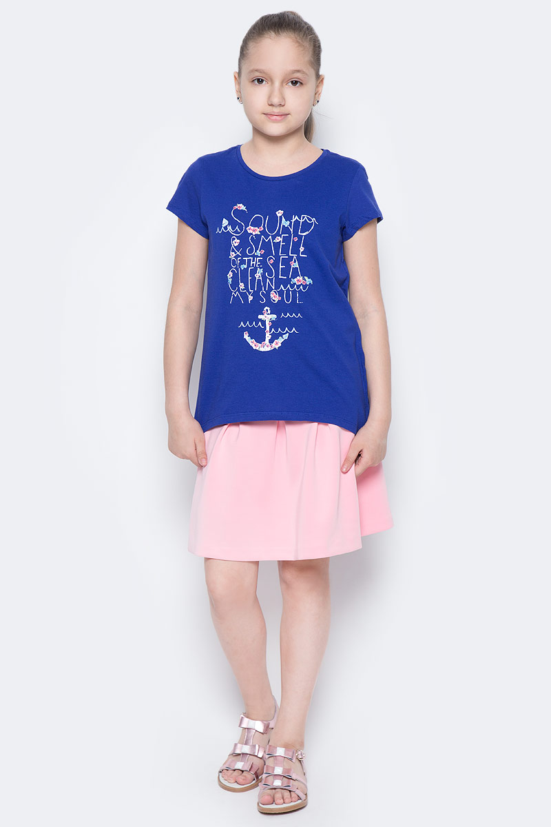 Футболка для девочки Sela, цвет: сине-фиолетовый. Ts-611/981-7233. Размер 140, 10 летTs-611/981-7233Стильная футболка с удлиненной спинкой Sela станет отличным дополнением к гардеробу юной модницы. Модель прямого кроя изготовлена из натурального хлопка и оформлена оригинальным принтом. Воротник дополнен мягкой эластичной бейкой.