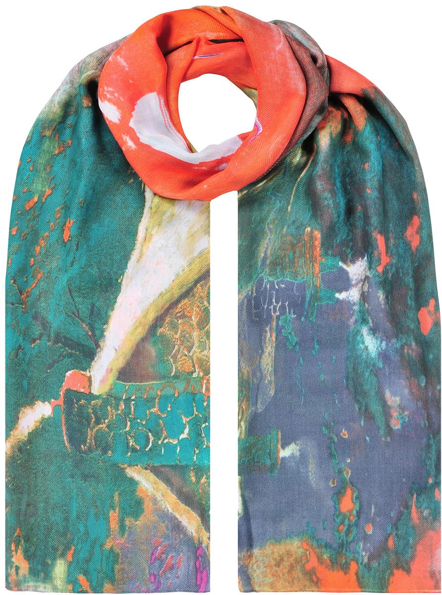 Палантин женский Модные истории, цвет: мультиколор. 21/0530/600. Размер 90 см х 180 см21/0530/600Великолепный палантин из вискозы. Приятный на ощупь. В основе яркий тропический принт. Красиво и просто драпируется.