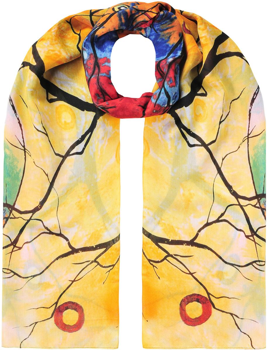 Палантин женский Модные истории, цвет: мультиколор. 21/0531/600. Размер 90 см х 180 см21/0531/600Потрясающий палантин из вискозы. Приятный на ощупь. В основе яркий тропический принт. Красиво и просто драпируется.