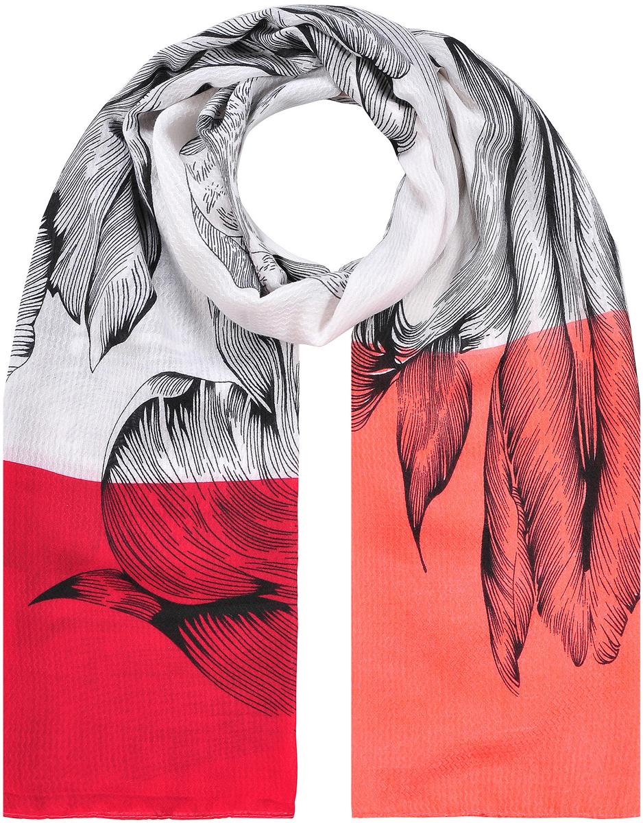 Палантин женский Модные истории, цвет: красный, черный, белый. 21/0532/110. Размер 90 см х 180 см21/0532/110Классический палантин с натуральным хлопком в составе. В основе цветочный принт по всей длине изображающий ирисы. По торцевым сторонам контрастный кант. Красиво и просто драпируется.