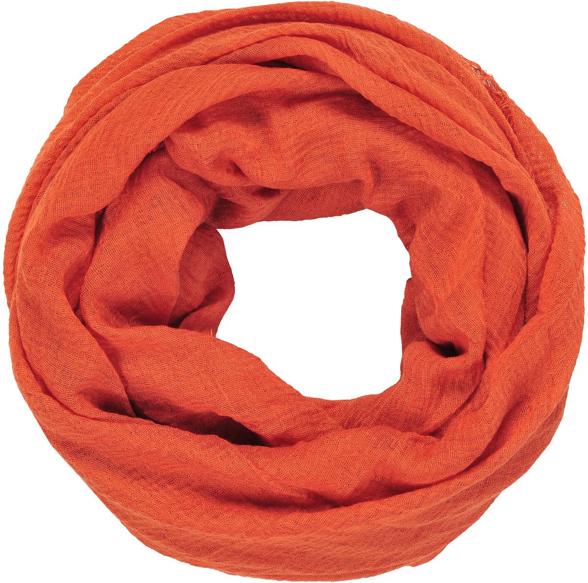 Палантин женский Модные истории, цвет: оранжевый. 21/0533/087. Размер 90 см х 180 см21/0533/087Легкий однотонный палантин из ткани с эффектом крэш. Декорирован бахромой по торцевым сторонам.