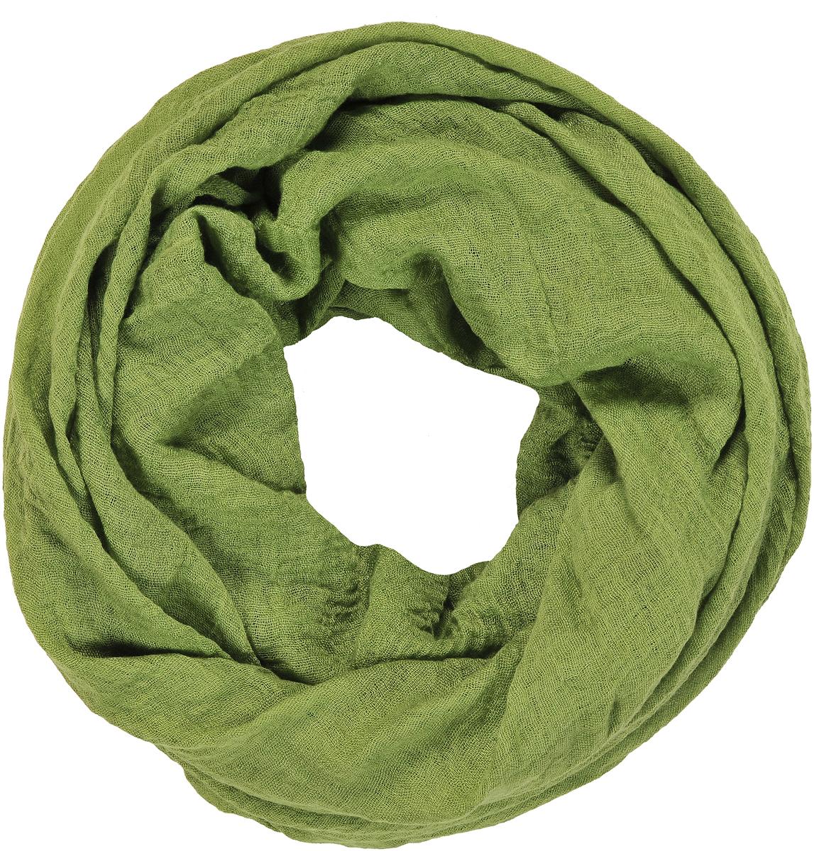 Палантин женский Модные истории, цвет: зеленый. 21/0533/243. Размер 90 см х 180 см21/0533/243Легкий однотонный палантин из ткани с эффектом крэш. Декорирован бахромой по торцевым сторонам.